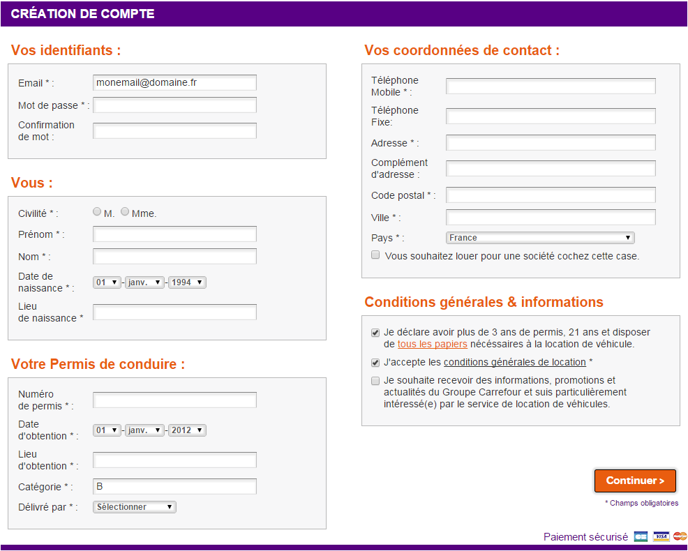 Carrefour Location creation compte