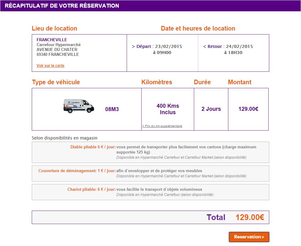 Carrefour Location finalisation réservation